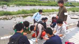 環境調査を行う学生たち